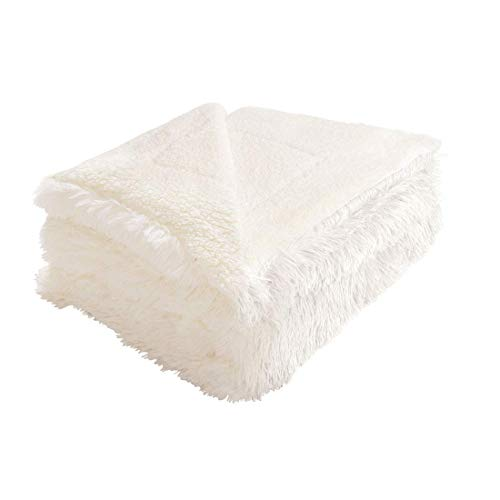 uxcell Reversible Thick Faux Fur Blanket Full/Queen Size,Soft Fuzzy Shaggy Plush Microfiber Fleece Blanket for Bed/Couch,78' x 90',Cream White