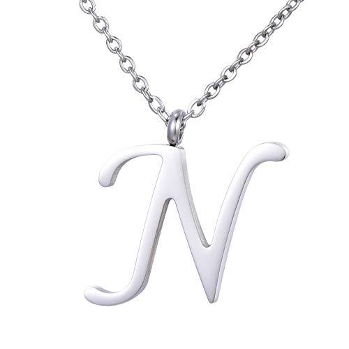 Morella Damen Halskette mit Buchstabe N Anhänger Edelstahl Silber in Schmuckbeutel