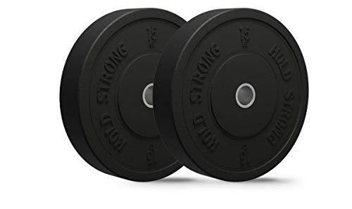 HOLD STRONG - Set di dischi bumper da fitness in granulato di gomma piena, attacco 50,4 mm, 2 x 5 kg, 2 x 10 kg, 2 x 15 kg, 2 x 20 kg, Made in EU, C: 2 x 15 kg