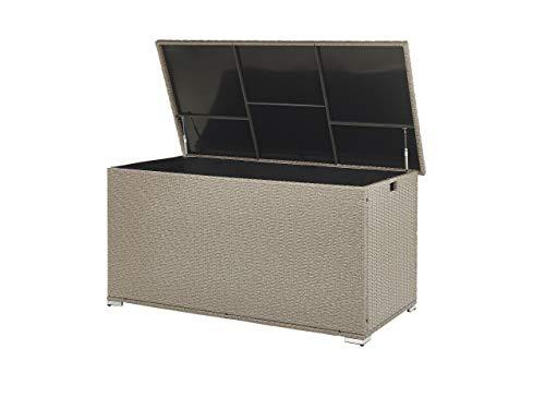 Garden Deck PE Rattan Storage Box Beige 155 x 75 cm Modena