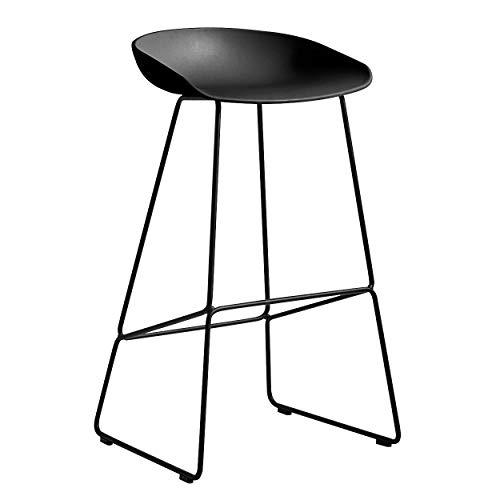 HAY AAS 38 Barhocker hoch Gestell schwarz, schwarz Sitzschale Polypropylen Gestell Stahl schwarz pulverbeschichtet mit Kunststoffgleitern