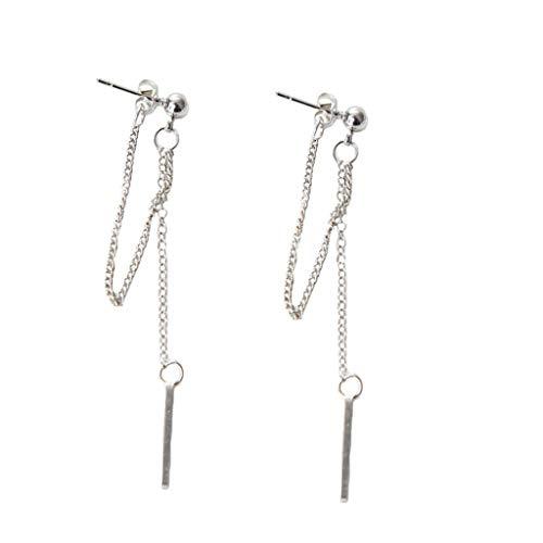 RG-FA - Pendiente de cadena de doble borla plateada, Kpop coreano joyería de moda
