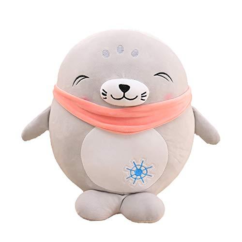 ONWRACE Cute Plush Toys, Cartoon Plush Stuffed Doll, Baby Birthday Gift, Creative Seal Design Soft Stuffed Doll Home Cafe Gift Shop Showcase Decor Toy Grey 45cm