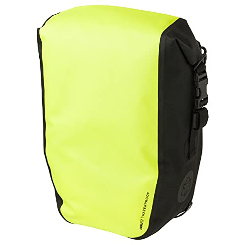 AGU Clean Fahrradtaschen Medium, Tasche für Gepäckträger Fahrrad, 17L Seitentasche Fahrrad, Wasserabweisend, Reflektierend, 100% Recyceltes Polyester - Fluo Gelb