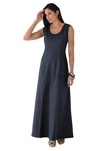 Jessica London Women's Plus Size Denim Maxi Dress - 14, Indigo