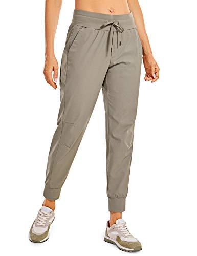CRZ YOGA Women's Hiking Pants Lightweight Quick Dry Drawstring Joggers with Pockets Elastic Waist Travel Pull on Pants Cliff Ash Large