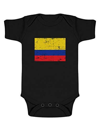 Body de Manga Corta para bebé - Bandera de Colombia 3-6 Mes Negro
