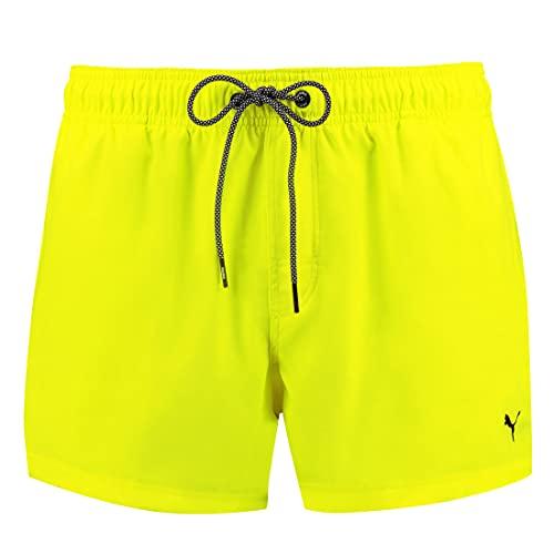 PUMA Herren Badehose Badeshorts Logo Short Length Swim Shorts, Farbe:Neongelb, Bekleidungsgröße:L