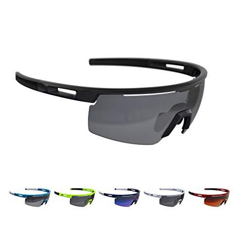 BBB Cycling Fahrradbrille Avenger | Herren und Damen Sportbrille Sonnenbrille Radsport | mit Wechselgläsern | Polycarbonat | MTB Rennrad Urban | Mattschwarz | BSG-62