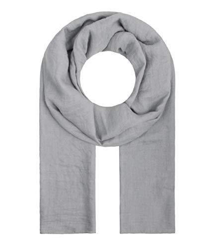 Majea Tuch Lima schmal geschnittenes Damen-Halstuch leicht uni einfarbig dünn unifarben Schal weich Sommerschal Übergangsschal (grau)