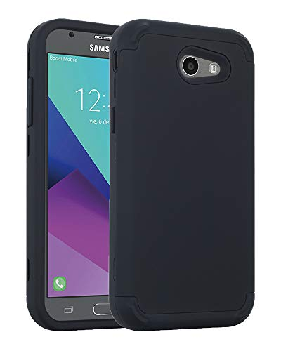 Galaxy J3 Emerge/J3 2017/J3 Mission/J3 Eclipse/J3 Luna Pro/Amp Prime 2/J3 Prime/Express Prime 2 Case, Ankoe Shockproof Durable Anti-Slip Front and Back Hard Full-Body Protective Cover (Black)