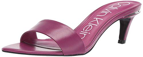 Calvin Klein Women's Gallia Heeled Sandal, Magenta Kid Skin, 7.5 M US