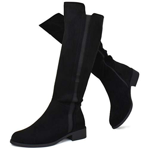 Prime Shoes Women's Elastic Panel Knee High Boot - Zipper Comfortable Walking Boots, 000000090 Black Size 10
