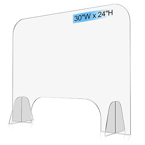 "Vantic Sneeze Guard - 30""W X 24""H Acrylic Protective Plexiglass Shield Guard for Counter Cashier Reception Desk with Transaction Window"