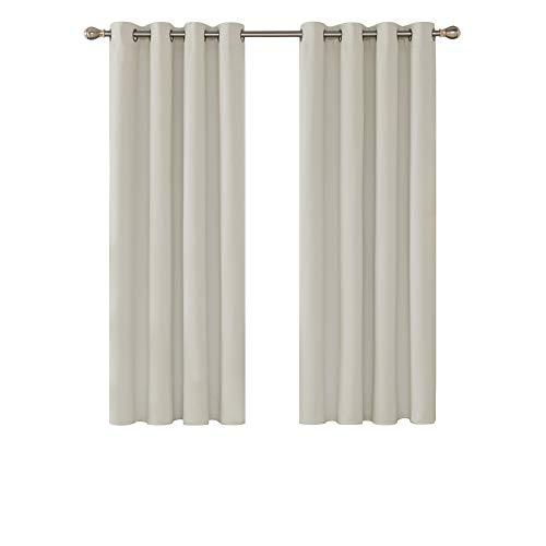 Deconovo Cortinas de Salon para Ventanas Modernas Suaves 2 Piezas 117 x 138 cm Beige Claro