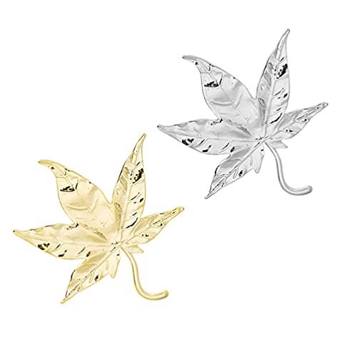 ABOOFAN 2 Piezas Broche de Hoja de Pin Vintage Canadiense Pin Insignias de Solapa de Joyas de Otoño para Bolsas de Ropa Mochilas Chaquetas Sombrero Accesorios Decoración (Dorado