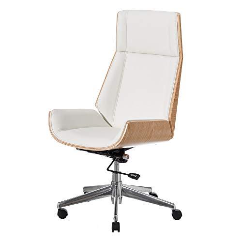 Sillón Oficina Moderno Blanco Ruedas Polipiel ergonómica de 108x66x65 cm - LOLAhome