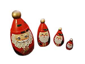 Weihnachts-Holz-Russischer Stil Nistkasten Puppen Vintage Stil Handgemalt, Gold Spitze, 3D Bart Santa Claus XMAS