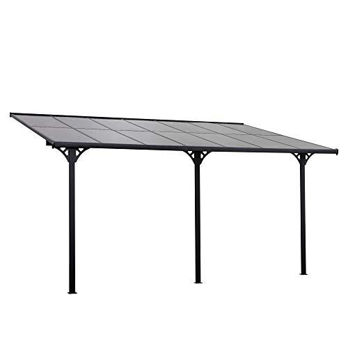 Outsunny Outdoor Patio Wall-mounted 4.35 x 3(m) Gazebo Pergola, Aluminum Post, PC Roof