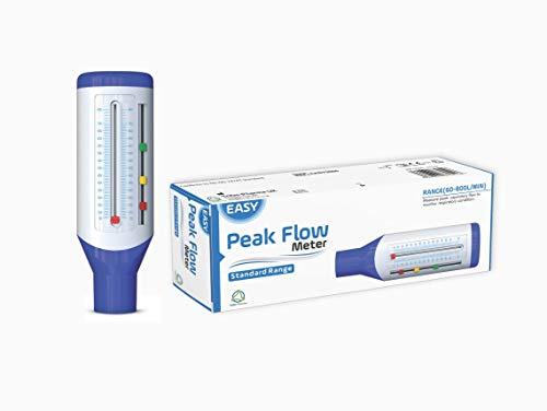 Easy Peak Flow Meter para que un adulto controle la función pulmonar | Medidor de flujo espiratorio | Gama estándar para adultos | Incluya instrucciones - indicadores codificados por colores