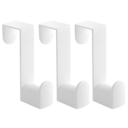 iDesign Plastic Over the Door Valet Hook with Slots for Clothes Hangers for Coats, Hats, Robes, Towels in Bathroom, Bedroom, College Dorm Room, Office, 1' x 3.25' x 4.5', Set of 3 - White
