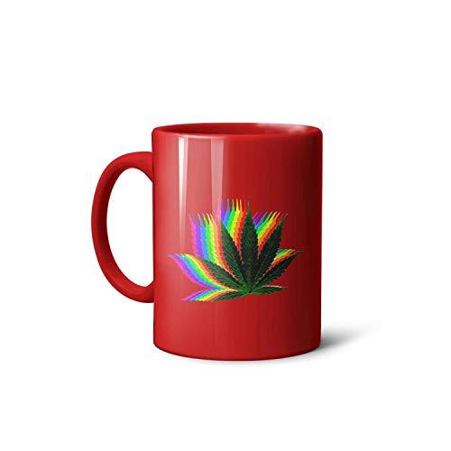 DRTGRHBFG Gradient Marijuana Leaf Weed Cannabis Ceramic Cup Coffee or Tea Mugs,11 Oz,Daily Use,(White Black Red)