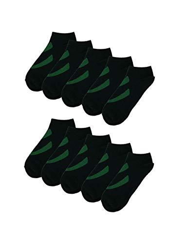 Sourcingmap Hommes 10 Pack coupe-bas rayures Socquette respirant Vert noir Chaussure jeunesse size 5-10/âge 10-14 ans
