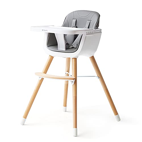 High Chairs for Babies Toddlers - BBPARK Wooden High Chair, European Lightweight Baby Chair for Eating with Adjustable Tray and Legs, 5-Point Harness, Best for 6-36 Months (Gray)