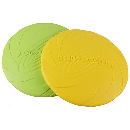 Aoligei Frisbee Perro Grande, Frisbee Perro, Perros interactivos Frisbee, Disco para Perros, Frisbees para Perros, Frisbee de Goma para Perros, Juguete de Disco Volador de 2PCS (Verde + Amarillo) (L)