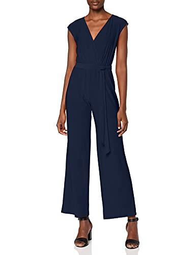Amazon-Marke: find. Damen Kurzärmeliger Wickel-Jumpsuit aus Jersey, Blau (Navy), 36, Label: S