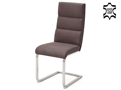 möbelando Schwingstuhl Küchenstuhl Esszimmerstuhl Stuhl Echtleder Giulia VI (2-er Set) Braun