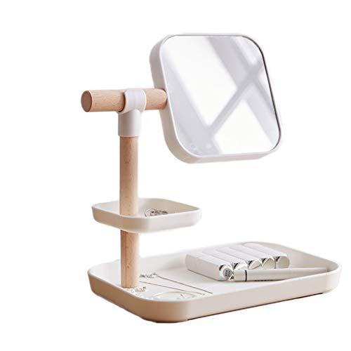 Zyj stores-Coffret Maquillage Boîte de Rangement cosmétique Simple avec Miroir De Bureau Finition Produits De Soins de La Peau Rack À Lèvres Rack Pansement (Color : Gray, Taille : 27 * 30cm)