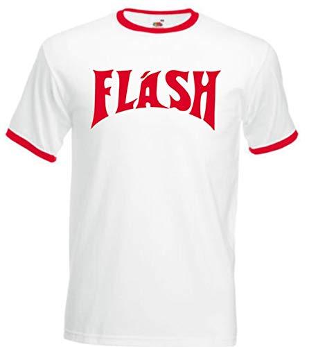 Floordrobe Abbigliamento Flash Gordon T Shirt 80s Queen Colore: bianco. L