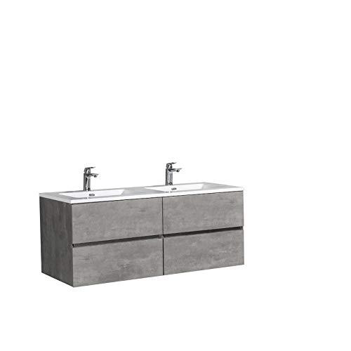 Badmöbel-Set EDGE 1300 - Farbe:Beton, Waschbecken-Farbe:Weiß glänzend