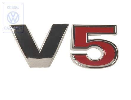 Original Classic Parts Schriftzug V5 für Golf Bora und Passat | NUR Hier + Extra Schlüsselring Mit Schraubverschlusss | SET