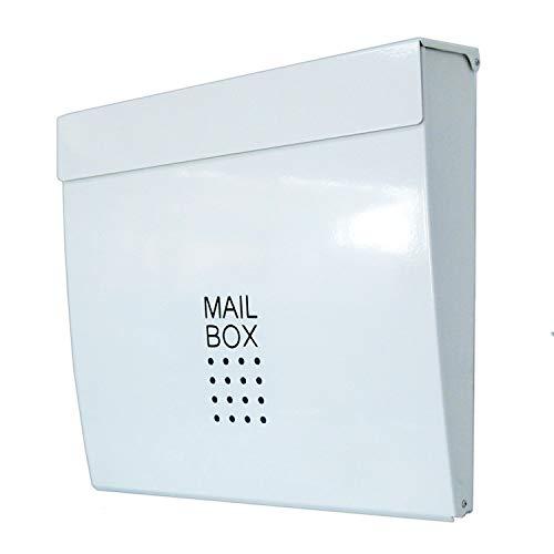 おしゃれな郵便ポスト郵便受けmailbox大型 鍵付きマグネット付きつやあり白色ポストpm171-1