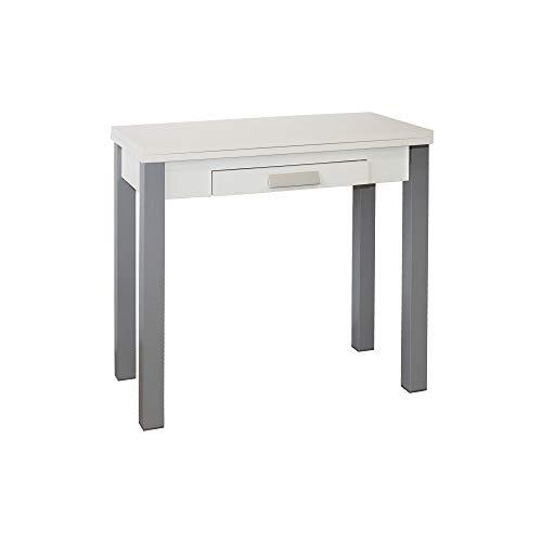 Mesa de Cocina - Modelo HENA Metal - Color Blanco/Plata - Material MDF/Metal - Medidas 80 x 40/80 x...