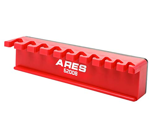 ARES 62008-10-Piece Red Magnetic Wrench Organizer - Sturdy Plastic Rack Stores up to 10 SAE and Metric Wrenches and Keeps Your Garage Organized