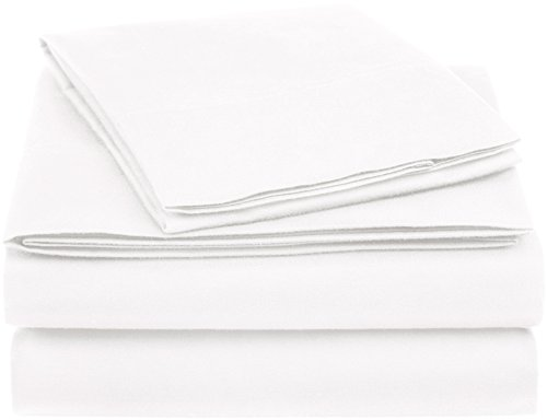 AmazonBasics Essential Cotton Blend Bed Sheet Set, Twin, White