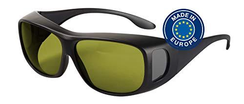 Blaulichtfilter – Überbrille – Fit-Over-Brille, Blue Blocker mit Kantenfilter 450 und 60% Grautönung, UV-Schutz, Blendschutz, kontraststeigernde Unisex-Lichtschutzbrille IV PROSHIELD