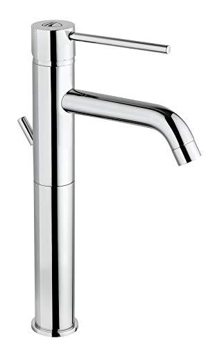Ducati - Grifo monomando para lavabo de alta calidad, cromado – Grifo monomando con grifo y caño alto, para lavabo/cuarto de baño, color plateado