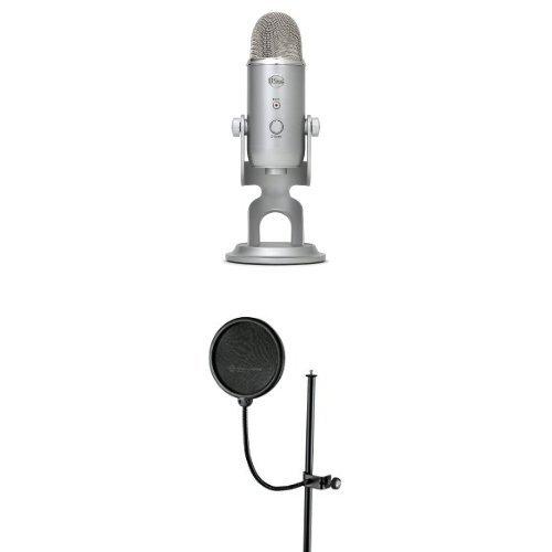 Blue Microphones Yeti USB Mikrofon, Silber + K&M 239/56 Popschut