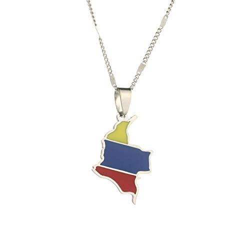 Collar con colgante de mapa de Colombia esmaltado, joyería para hombres y mujeres, joyería con encanto de mapa de bandera colombiana