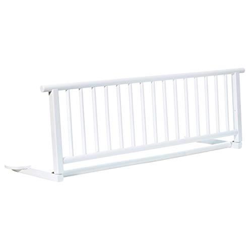 Bettschutzgitter Exclusiv aus Buchenholz | Rausfallschutz für Baby & Kinder 110x35 cm | Kinder-Bettgitter mit einfacher Anbringung | Bettgitter für Kinderbetten & Babybetten, Design:weiß