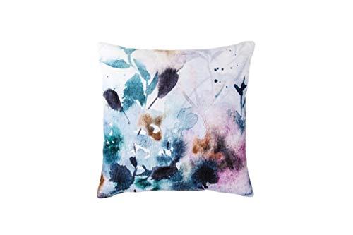 Walra Dekokissen Velvet Flower, 100% Baumwolle, 45x45, Weiß/Blau
