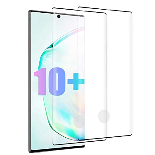 Galaxy Note 10 Plus/Note 10+ 5G Screen Protector, Tempered Glass for Samsung Note 10 Plus 5G, Anti-Scratch, 9H Hardness/HD Screen/Bubble Free/Support Fingerprint/Case Friendly/Full Coverage (2 Pack)