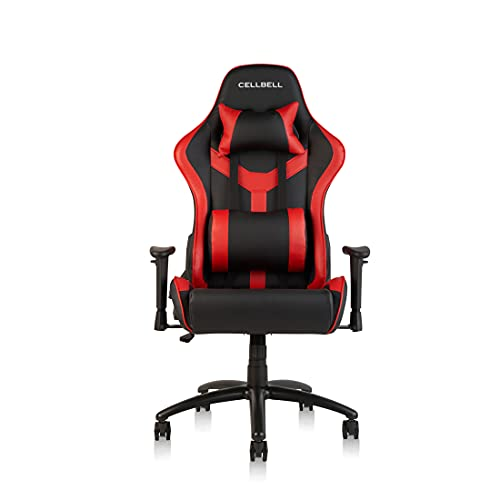 CELLBELL® GC01 Transformer Series Gaming/Racing Style Ergonomic High Back Chair with Removable Neck Rest and Adjustable Back Cushion [Red-Black]