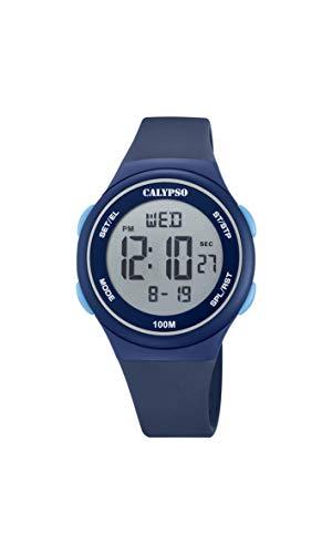 CALYPSO Reloj Modelo K5804/2 de la colección Color Splash, Caja de 39 mm Digital con Correa de plástico Azul Oscuro para niño