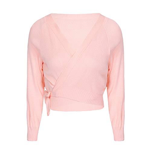 IEFIEL Chaqueta de Ballet Mujer Cárdigan Elegante de Fiesta Suéter Suave Manga Larga para Vestido de Danza Ballet Maillot Camiseta de Punto Jersey Tops de Danza d Rosa 170