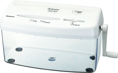 Nakabayashi Co,Ltd 3 Ways Manual Shredder for Paper&Card&CD/DVD,One Piece of Letter Size/A4 Size,Capacity of 3.3L(White)